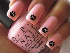 Nail WRAPS Nail Art Water Transfers Black Paw Print for Natural or False Nails