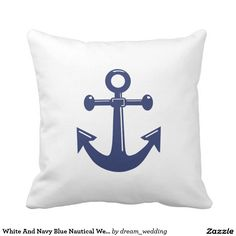 White And Navy Blue Nautical Wedding Pillows