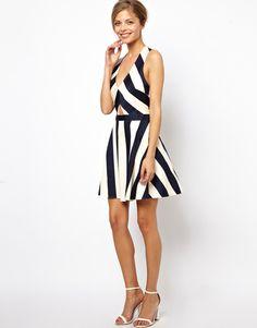 ASOS Cut Out Open Back Deep V Neck Stripe Skater Dress BLUE - UK 10- EU 38 -US 6 | eBay