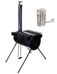 US $94.95 New in Sporting Goods, Outdoor Sports, Camping & Hiking Camping wood stove WITH hot water heater all for 94+shipping ($24.95 )!!! The stove also comes with four lengths of straight pipe, top grills on two warmers for the sides, and tools. All fits inside stove for easy transport.