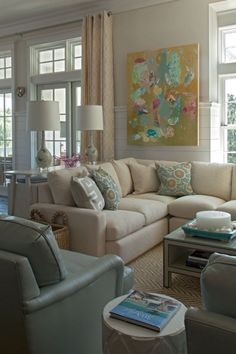 coastal chic living room - Collins Interiors via Simplified