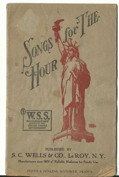 Old Advertising Premium Songbook SONGS FOR THE HOUR SC Wells LeRoy NY Medicine