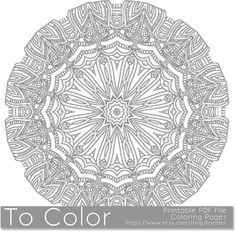 Intricate Printable Coloring Pages for Adults, Gel Pens Mandala Pattern, PDF / JPG, Instant Download, Coloring Book, Coloring Sheet Grown Up by ToColor on Etsy