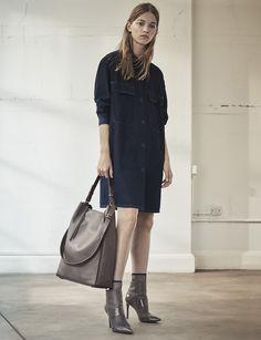 AllSaints Women's August Lookbook Look 3: Hazel Shirt Coat, Kita Large Tote, Xavier Boots