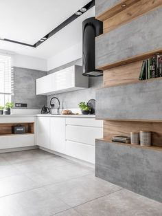 ATLAS KUCHNIE. PATRYCJA IV - lakier biały połysk, dąb miodowy, beton ares. #meblekuchenne #kuchnia #białakuchnia #beton