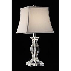 @Overstock.com - Turkis Crystal 3-way Chrome Table Lamp - With its curved base and bell-shaped shade, this modern three-way chrome table lamp is like functional art for your table. The ideal size for any desk or console table, its ivory fabric shade complements the boldness of the chrome finish perfectly.   http://www.overstock.com/Home-Garden/Turkis-Crystal-3-way-Chrome-Table-Lamp/5207248/product.html?CID=214117 $89.99