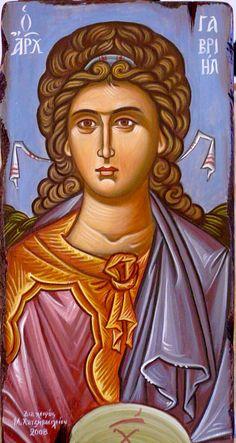 Archangel Gabriel by Maria Hatjivasiliou: Religious Images, Religious Icons, Religious Art, Byzantine Icons, Byzantine Art, Saint Gabriel, Russian Culture, Religious Paintings, Renaissance Men