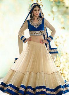 Designer Bridal Lehnga Choli In Cream  Blue
