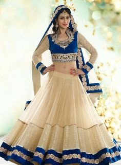 Designer Bridal Lehnga Choli In Cream  Blue . Buy at - http://www.gravity-fashion.com/designer-bridal-lehnga-choli-in-cream-blue.html