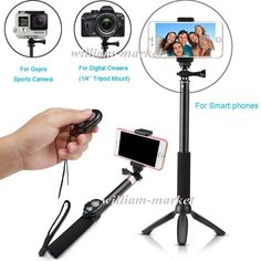 "Bluetooth Remote Camera Shutter Self Stick Gopro 39"" Monopod+Original YUNTENG Tripod For Sony Action Z2 Z S8 S5 S6 Neo/6S 7 PLUS //Price: $15.27//     #electonics"