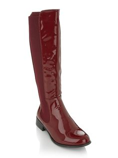 Patent riding boots Red