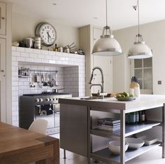Scandinavian Industrial Kitchen With gorgeous lights and clock