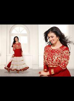 Splendorous Off White & Red Salwar Kameez