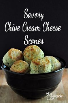 Easy because you make them in the food processor, these are flaky, rich and fabulous: Savory Chive Cream Cheese Scones - The Creekside Cook