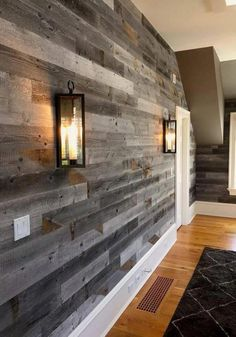 17 Alluring Accent Wall Ideas for Any Room in Your House Gray Reclaimed Barn Wood Wall Panel- Easy Peel and Stick Application Sq Ft, Reclaimed Barn Wood) Into The Woods, Wood Panel Walls, Plank Walls, Basement Wall Panels, Basement Ceilings, Basement Stairs, Basement Flooring, Rustic Wood Walls, Reclaimed Barn Wood
