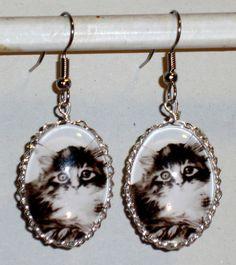Ohrringe Katze Tiere Damen Hänger Ohrschmuck Modeschmuck Glas Cabochon Grau