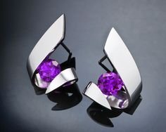 Argentium silver and amethyst earrings designed by David Worcester for VerbenaPlaceJewelry.Etsy.com