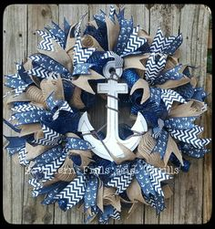 Nautical Wreath-Beach Wreath-Anchor Wreath-Summer Wreath-Burlap Wreath-Mesh Wreath-Nautical Decor-Beach Decor-Navy Wreath-Front Door Wreath by SouthernThrills on Etsy-DIY Wreath-How to make a wreath-How to make a Deco Mesh Wreath