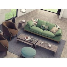 Saloni Bugatti Air Triple Sofa Upholstery Color: Green