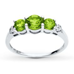 Peridot Ring Diamond Accents 10K White Gold from Kay's - love Peridot, so pretty in person