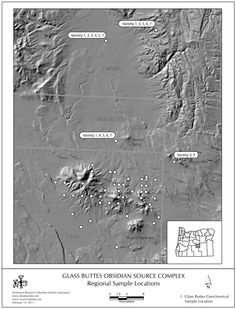 Obsidian Source Complex - Glass Buttes, Oregon | The maps available here are all produced by Northwest Research Obsidian Studies Laboratory and may be downloaded and freely used or modified for reports, books, websites, and other projects. We ask only that you give us explicit credit for them or provide a link back to www.obsidianlab.com. Higher resolution state source maps are available upon request.