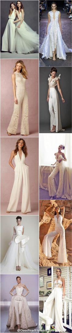 wedding dresses & wedding pantsuits / http://www.deerpearlflowers.com/wedding-pantsuits-and-jumpsuits-for-brides/