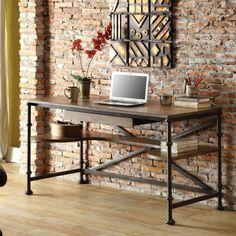 Riverside Camden Town Writing Desk with Optional Bookcases - Hampton Road Ash - Writing Desks at Hayneedle