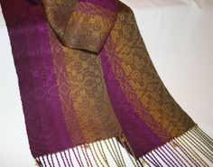 Hand woven Ladies Scarf Eggplant Olive Tencel by ThrumsTextiles, $129.00