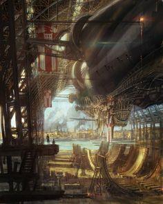 The battle airship in the new age of steampunk Ville Steampunk, Steampunk Artwork, Steampunk Airship, Dieselpunk, Steampunk Fashion, Fantasy City, Fantasy World, Zeppelin, Steampunk Illustration