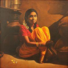 Tamil girl sitting in Kitchen corner in Home - Painting by S.Elayaraja