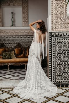 Dramatic, eclectic and effortlessly cool, boho brides will love Wild Heart the new collection of Rue De Seine wedding dresses. Bohemian Wedding Dresses, Boho Bride, Designer Wedding Dresses, Boho Dress, Fringe Wedding Dress, Dress Beach, Lace Bridal, Bridal Style, Bridal Gowns
