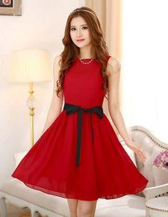 Đầm xòe màu đỏ thắt nơ eo - B2894