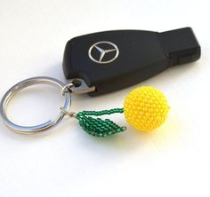 Cherry keychain Thank You gift Fruit keychain Accessories for car Lemon Beaded keychain handmade keychain Yellow Small keychain for women