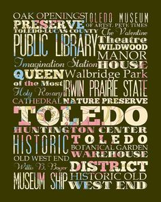 Toledo Ohio Typography Poster/Bus/ by LegacyHouseArt on Etsy, $42.95