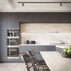 Kitchen Visualisation featuring a Benjamin Moore Black Berry colour. Most Popular Kitchen Design Ideas on 2018 & How to Remodeling Home Kitchens, Contemporary Kitchen, Kitchen Inspirations, Home Decor Kitchen, Kitchen Room Design, Kitchen Interior, Interior Design Kitchen, Kitchen Layout, Modern Kitchen Design