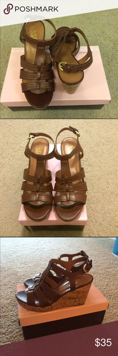 Franco Sarto Cork Leather Sandals Brown 7.5 Like New! Never worn, only tried on. Beautiful sandal wedges perfect for Spring! 🌸 No box, but will provide one :) Franco Sarto Shoes Sandals