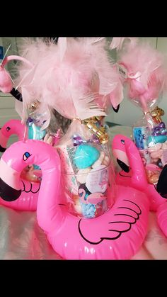 Flamingo party favours! Pink Flamingo Party, Flamingo Birthday, Luau Birthday, 6th Birthday Parties, Themed Parties, Pool Party Favors, Baby Shower Party Favors, Aloha Party, Summer Party Themes