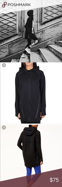 Nike tech fleece cocoon jacket Worn once or twice! Practically brand new, runs large, but sleeves are tighter. Has thumb holes. Falls past my butt. Only used stock photos because I can't get good enough picture to get the details. But it's the exact same look. Nike logo on the left breast black. Selling for $100 or more on other websites Nike Jackets & Coats