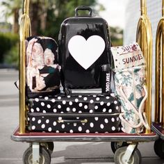 The Emily & Meritt Hard-Sided Heart Icon Carry-On Spinner Cute Luggage, Luggage Sets, Cute Suitcases, Emily And Meritt, Pack Your Bags, Pbteen, Birthday List, Backpack Purse, Travel Style