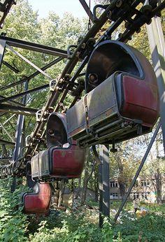 Abandoned roller coaster cars, Spreepark Plänterwald, Berlin, Germany.