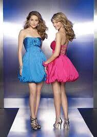 Two colour short dresses
