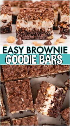 Brownie goody bars are delicious layered brownies with Rice Krispies, peanut butter, and frosting. Incredible brownie recipe with 3 layers of goodness that everyone adores! #brownies #ricekrispies #baking #dessert #easyrecipe from BUTTER WITH A SIDE OF BREAD Recipes Using Fruit, Recipes With Few Ingredients, Fun Easy Recipes, Bar Recipes, Side Recipes, Best Dessert Recipes, Brownie Recipes, Cookie Recipes, Bite Size Desserts