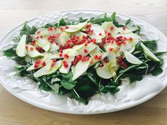 Pear, Parmesan & Pomegranate Salad Pomegranate Salad, Pear Recipes, Cracked Pepper, Balsamic Vinegar, Serving Platters, Parmesan, Feta, Raspberry, Stuffed Peppers