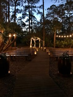 Cielo Blu Barn arch and ceremony area all lit up. 💙