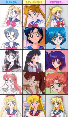 Sailor Moon comparisons m: manga, 90s, Crystal