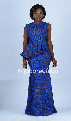 Maxi imprimé africain bleu robe de bal robe / africaine /