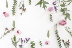 Superfície com flores e espaço em branco Foto gratuita