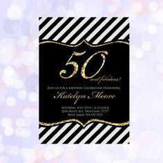 Adult 50th Birthday Invitation by MemoryLanePaperie on Etsy, $18.00