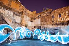 blue ribbon of light Light Graffiti Light Painting Sola Master Pixelstick light graffiti in urban city