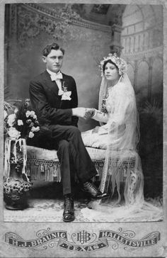 +~+~ Antique Photograph ~+~+  Unique pose of a couple on their wedding day.